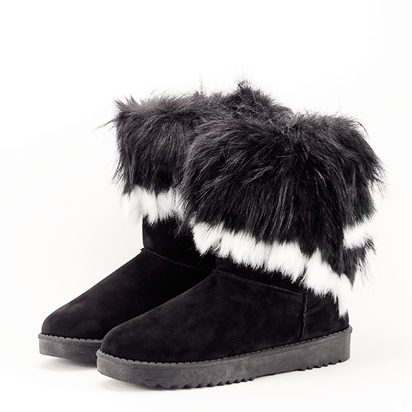 Cizme negre cu blanita Sorana 0