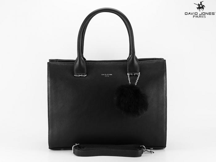 Geanta dama office neagra cu accesoriu puf Luisa 1