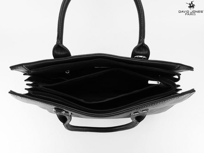 Geanta dama office neagra cu accesoriu puf Luisa 5