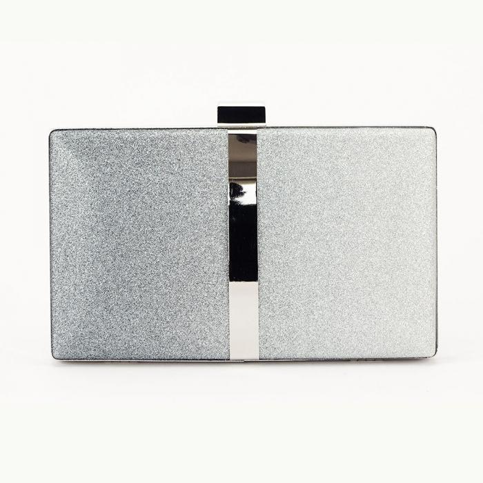 Geanta clutch negru cu argintiu Bianca 3