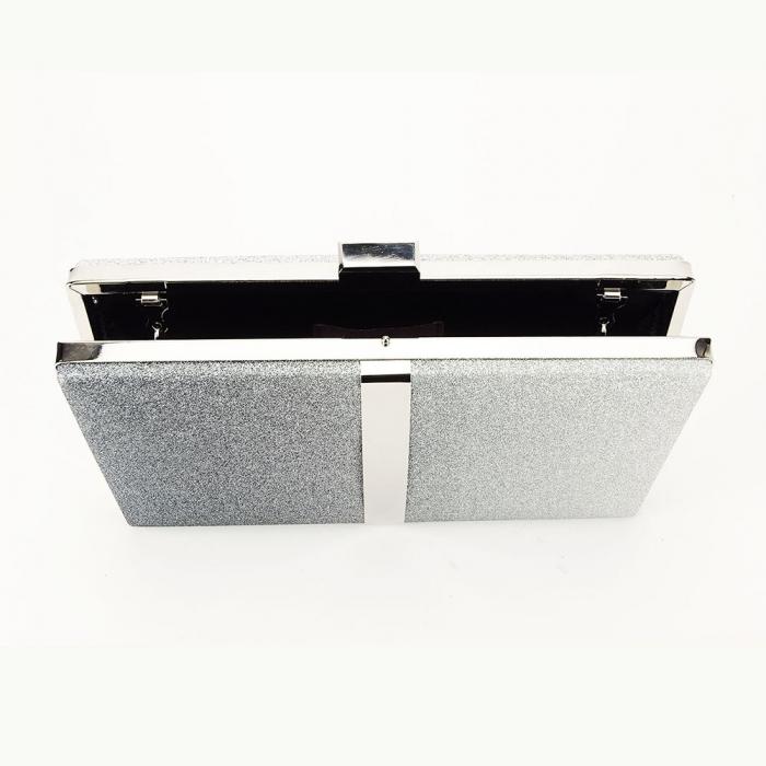 Geanta clutch negru cu argintiu Bianca 6