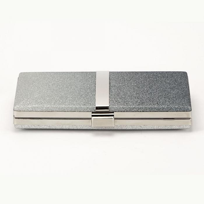 Geanta clutch negru cu argintiu Bianca 4
