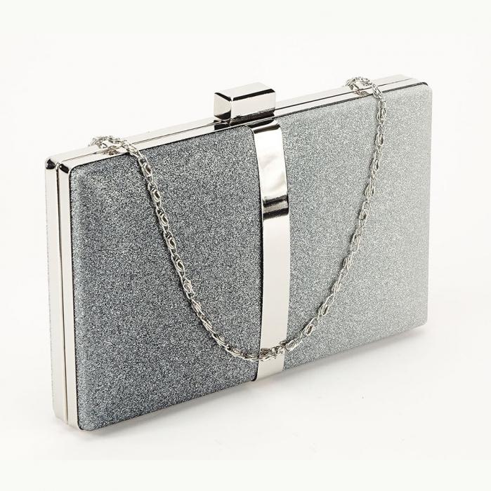 Geanta clutch negru cu argintiu Bianca 0