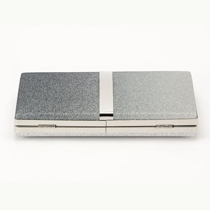 Geanta clutch negru cu argintiu Bianca 5