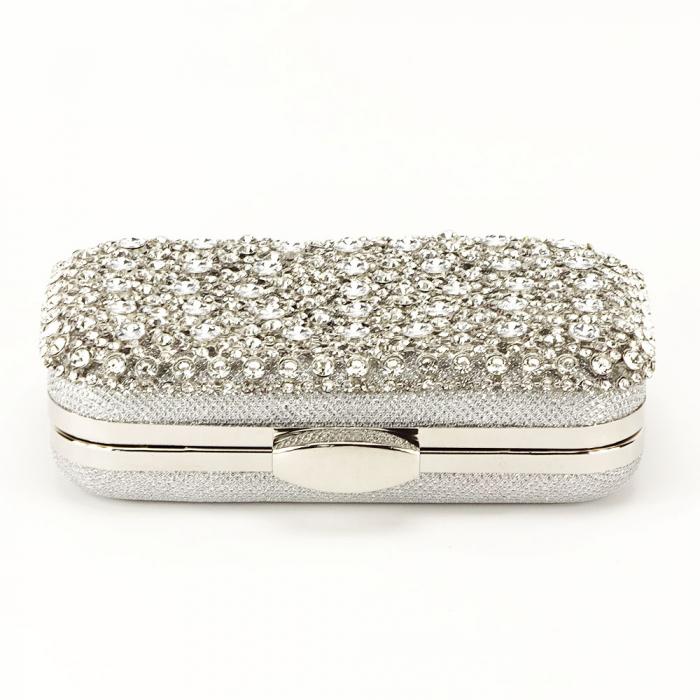 Geanta clutch argintie cu cristale Rosanna 4