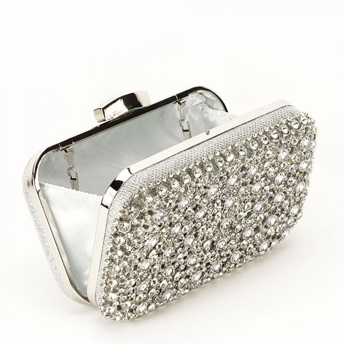 Geanta clutch argintie cu cristale Rosanna 6