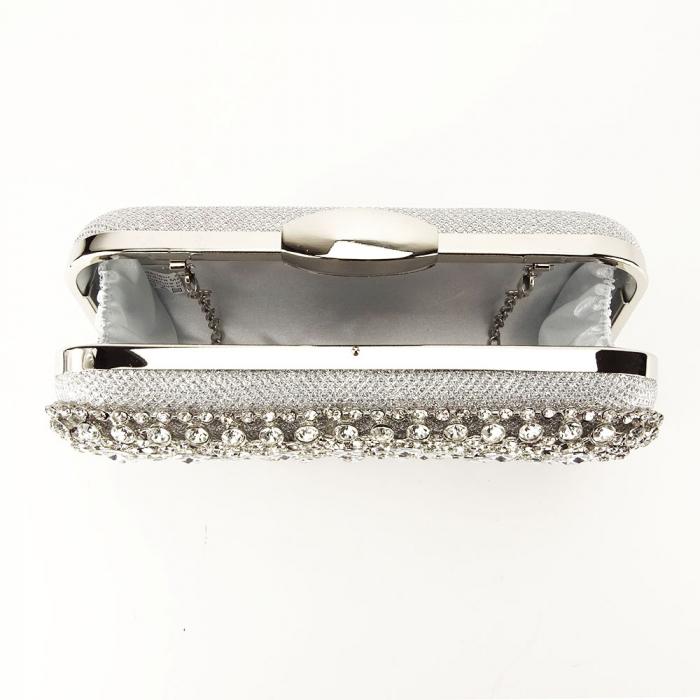 Geanta clutch argintie cu cristale Rosanna 2