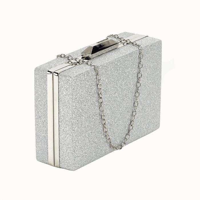 Geanta clutch argintie Eliza 0