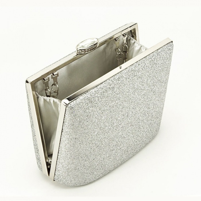 Geanta clutch argintie Lavinia 2