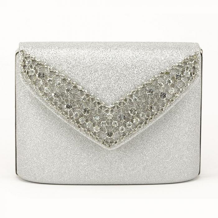 Poseta eleganta de seara argintie Lora 1