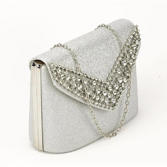 Poseta eleganta de seara argintie Lora 6