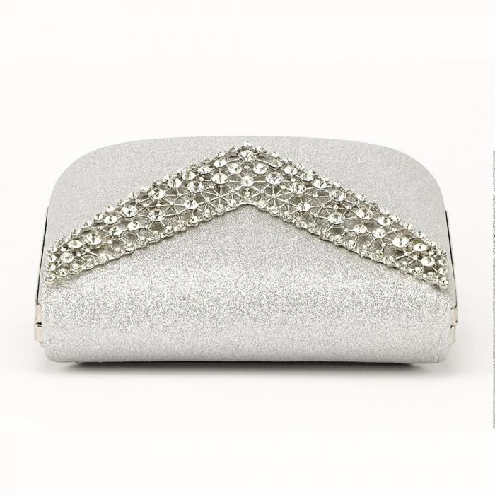 Poseta eleganta de seara argintie Lora 3