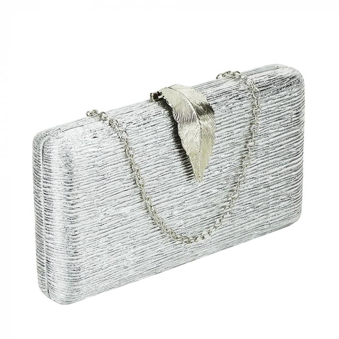Geanta clutch argintie Nicole 0