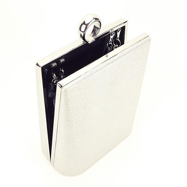 Geanta clutch argintiu cu imprimeu Noemi 4