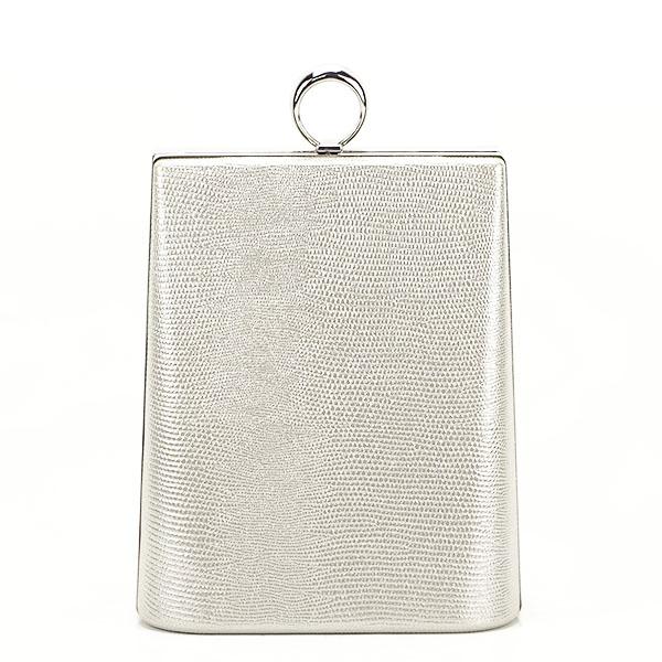 Geanta clutch argintiu cu imprimeu Noemi 2