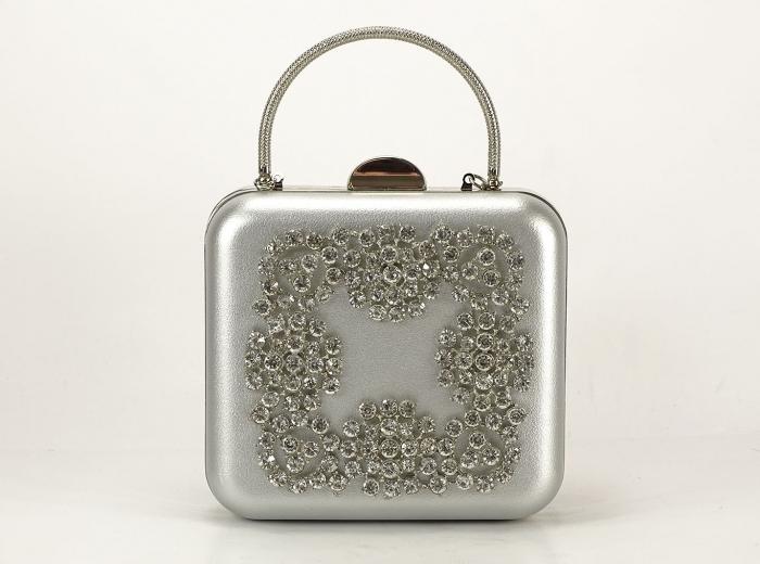 Geanta Clutch argintiu 0