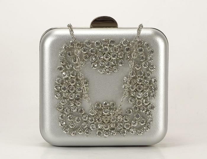 Geanta Clutch argintiu 1