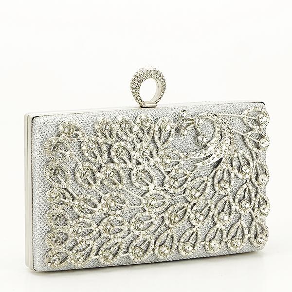 Poseta de ocazie argintie decorat cu pietre Raina [0]