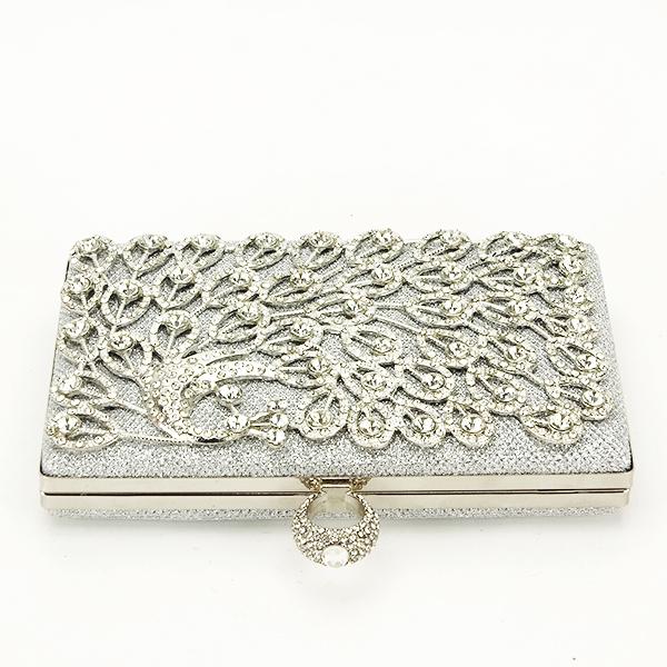 Poseta de ocazie argintie decorat cu pietre Raina [4]