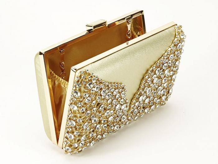 Geanta clutch auriu decorat cu cristale Corina 1