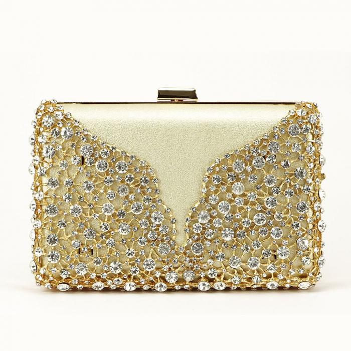 Geanta clutch auriu decorat cu cristale Corina 7