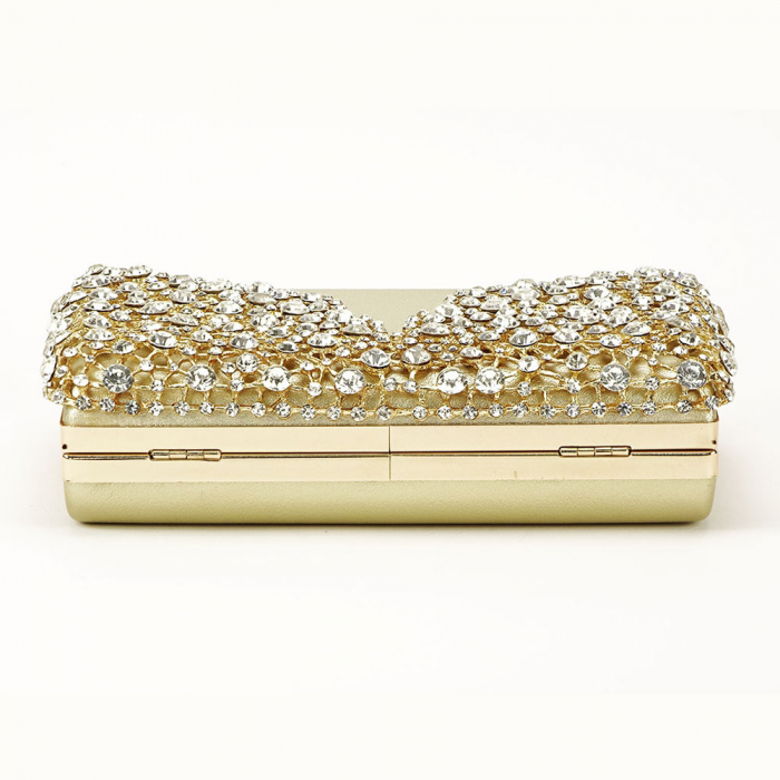Geanta clutch auriu decorat cu cristale Corina 5