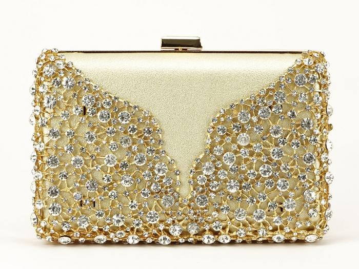 Geanta clutch auriu decorat cu cristale Corina 2