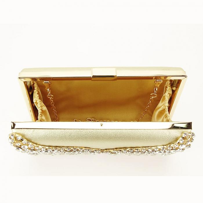 Geanta clutch auriu decorat cu cristale Corina 8