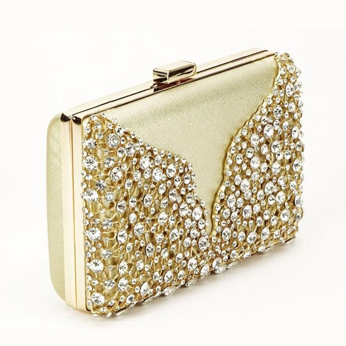 Geanta clutch auriu decorat cu cristale Corina 0