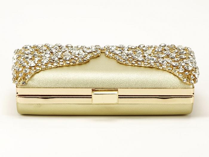 Geanta clutch auriu decorat cu cristale Corina 6
