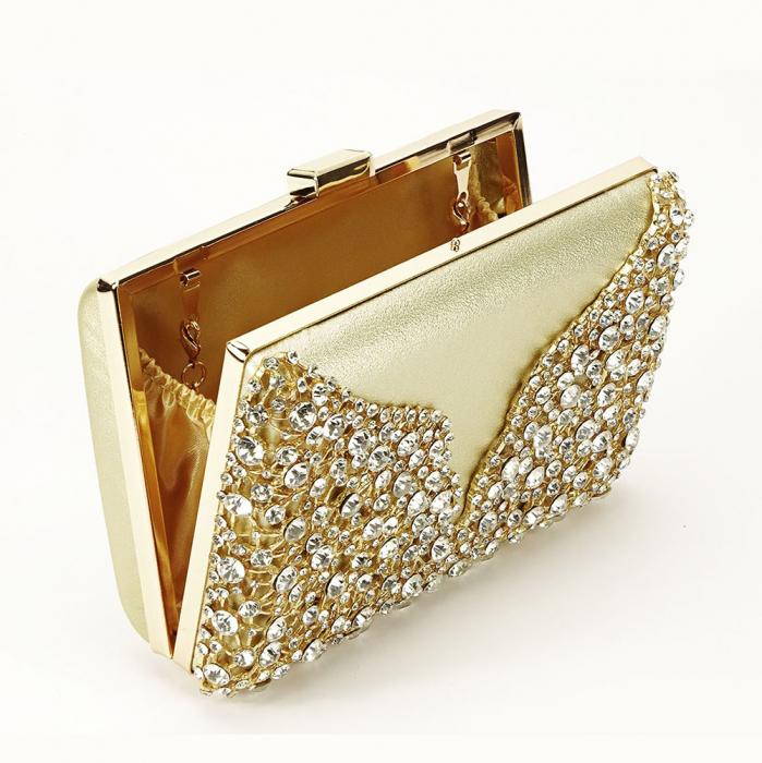 Geanta clutch auriu decorat cu cristale Corina 3