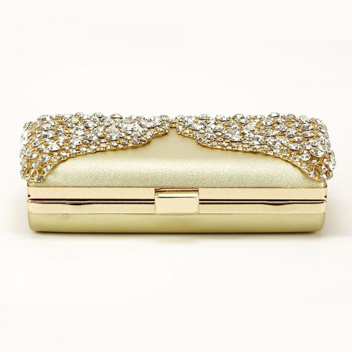 Geanta clutch auriu decorat cu cristale Corina 4