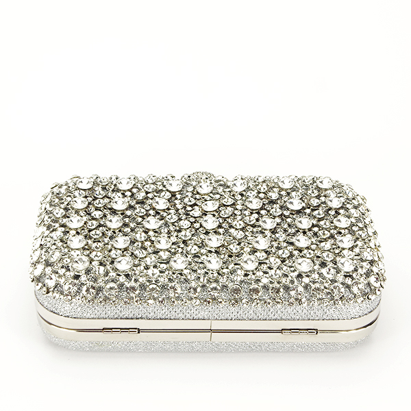 Geanta clutch argintiu cu cristale Meli [5]