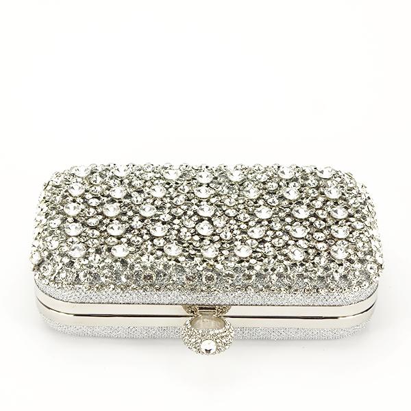 Geanta clutch argintiu cu cristale Meli [4]