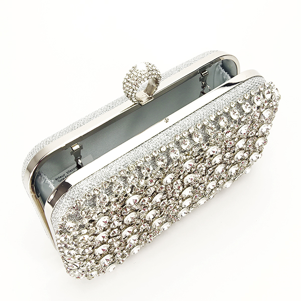 Geanta clutch argintiu cu cristale Meli [6]