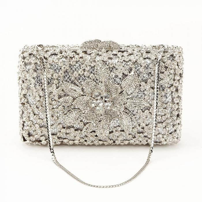 Geanta clutch de lux argintie Angelina [2]