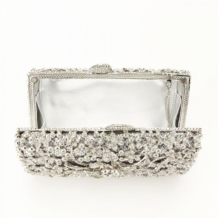 Geanta clutch de lux argintie Angelina [6]