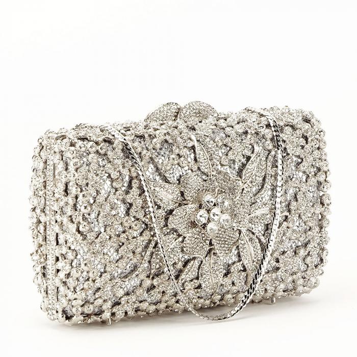 Geanta clutch de lux argintie Angelina [0]