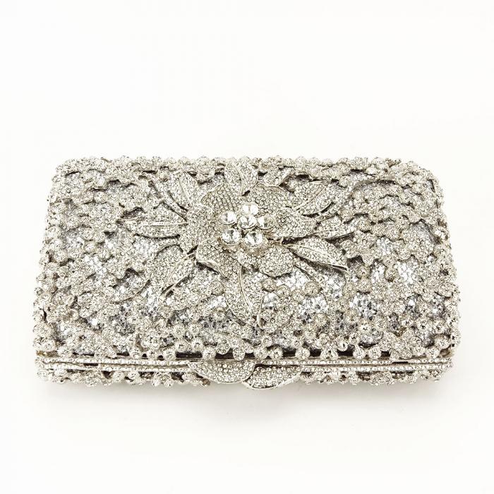 Geanta clutch de lux argintie Angelina [5]