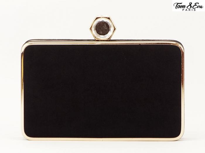 Geanta clutch negru cu brosa superba Beauty 3