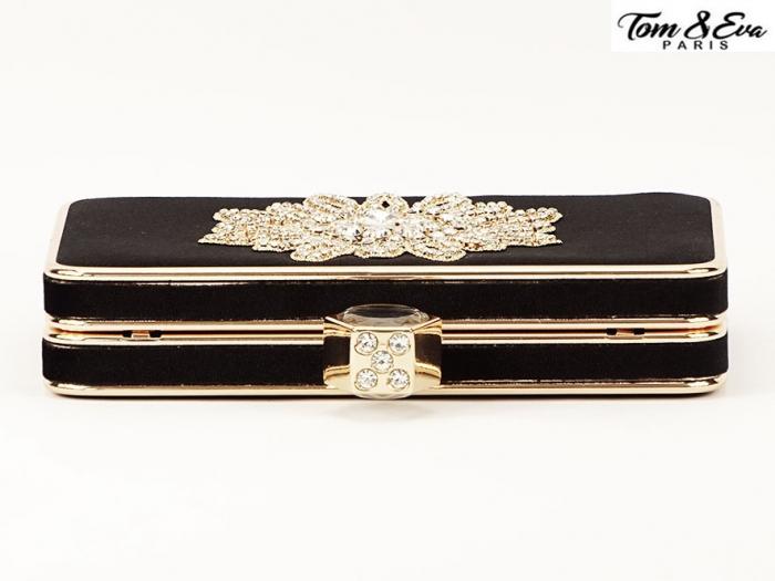 Geanta clutch negru cu brosa superba Beauty 4