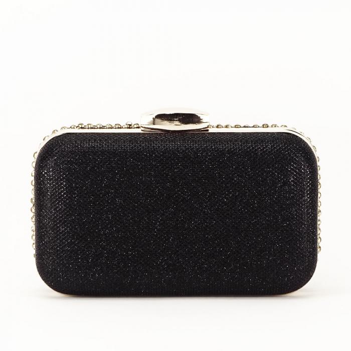 Geanta clutch neagra cu cristale Rosanna [3]