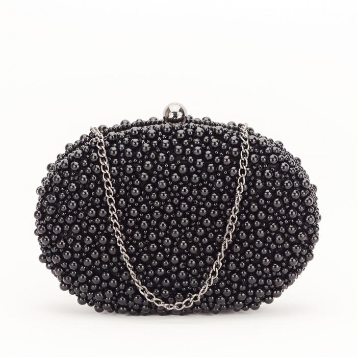 Geanta clutch negru cu margele Rebeca [2]