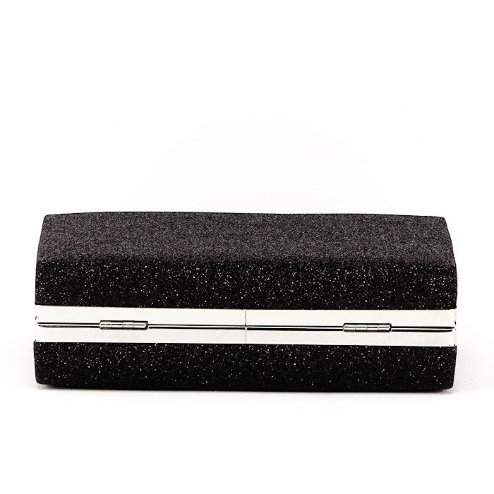 Geanta clutch neagra suflat cu sclipici Eliza 3