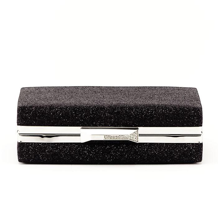 Geanta clutch neagra suflat cu sclipici Eliza 4