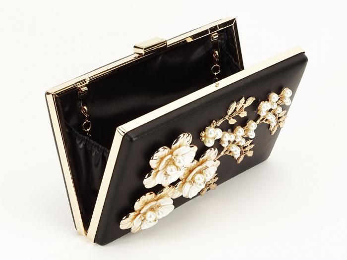 Geanta clutch negru decorat cu flori 3D Verona 1