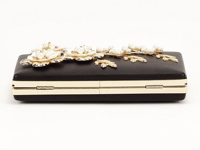 Geanta clutch negru decorat cu flori 3D Verona 6