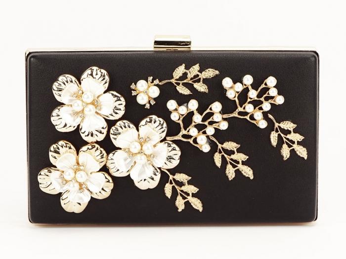 Geanta clutch negru decorat cu flori 3D Verona 2