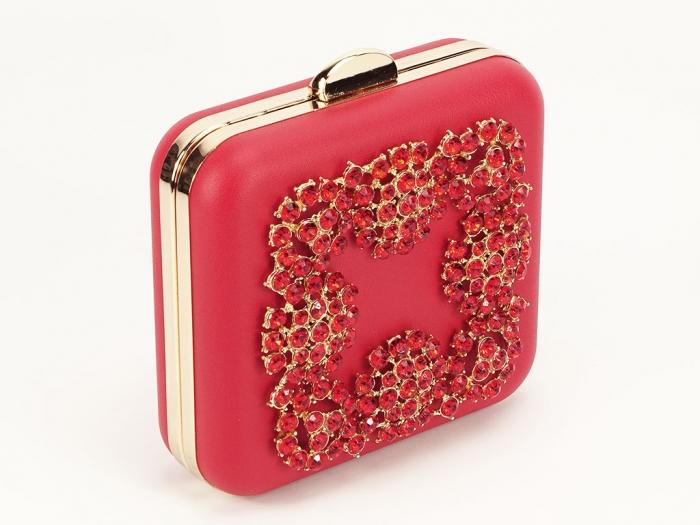 Geanta clutch rosu elegant Ingrid 2