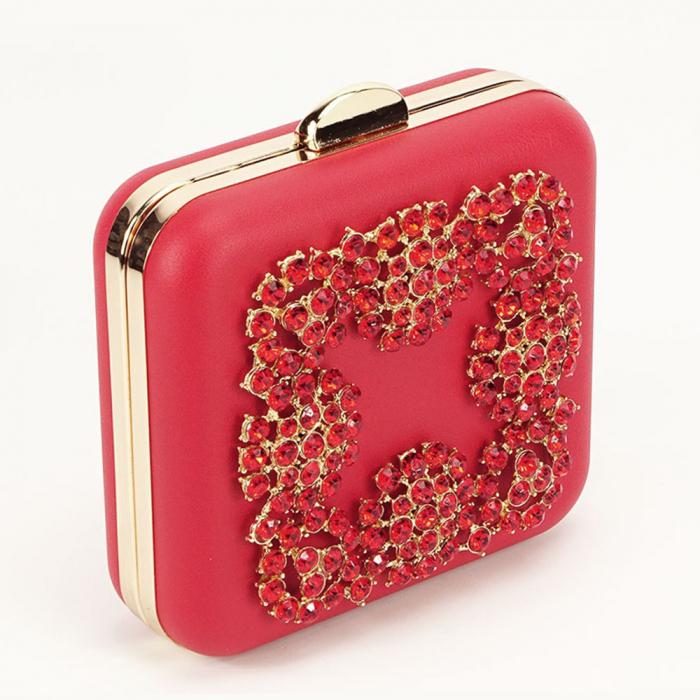 Geanta clutch rosu elegant Ingrid 6